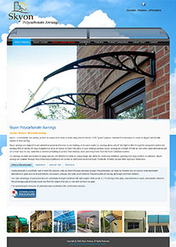 Skyon awning website snapshot